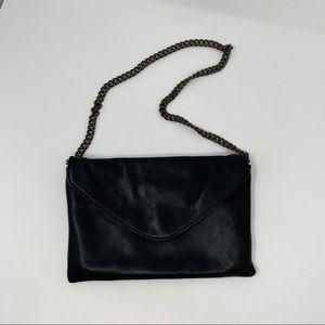 J. Crew Bag Purse Black Leather Chainlink